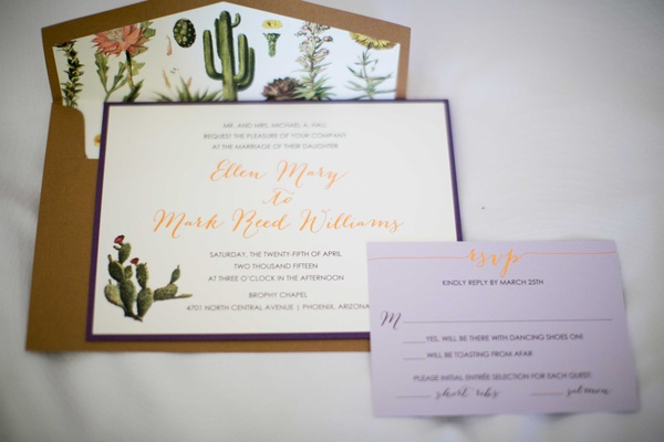 gold calligraphy desert themed invitations for an arizona wedding