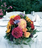 Small reception flower decorations in bright colors