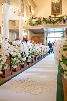 Church wedding decorations with custom aisle runner