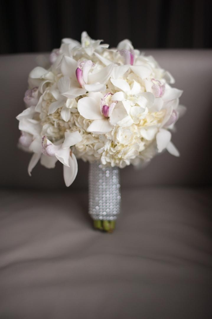 Crystal bouquet wrap with hydrangeas and orchids