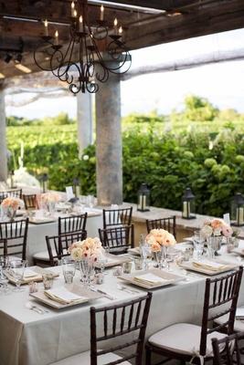 Neutral Wedding Decorations At Outdoor Vineyard