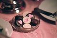 Chocolate hearts and letters on dessert
