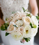 wedding bouquet rose varieties in white pink peach greenery