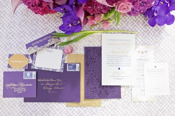 Alethia & Erik invitation suite, stationery by Ceci New York, damask details, laser-cut sleeves