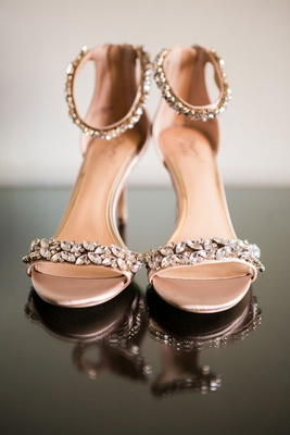 wedding shoes bridal sandals crystal details on toe strap and ankle strap