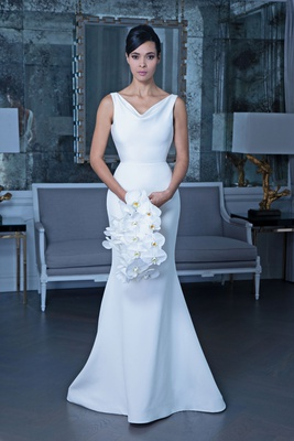Romona Keveža fall 2019 bridal collection wedding dress RK9502 cowl-neck sleeveless gown