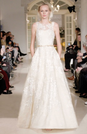 Oleg Cassini Spring 2019 collection gold metallic tulle gown with beading flowers and pockets