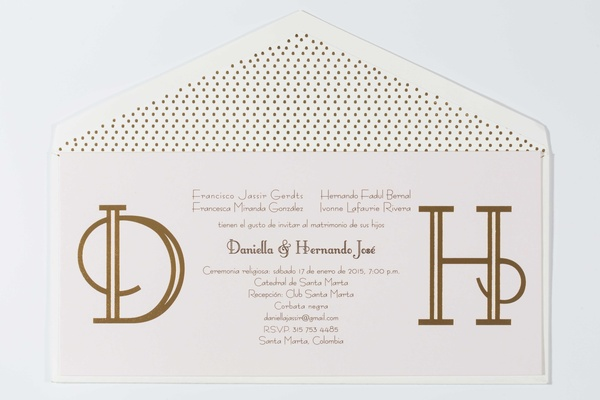gold calligraphy invitations Francesca Miranda daughter Daniella Jassir wedding