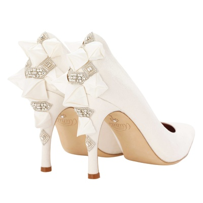 ab0a3fea430 Emmy London Alexia wedding shoe with folded triangle details on back with  crystals.