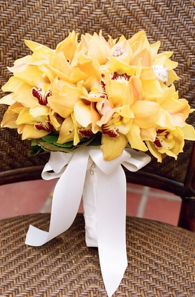 Wedding bridal bouquet with tropical yellow orchids