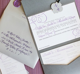 beautiful calligraphy in purple grey gray and white invitations paper products