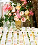 wedding reception spring wedding outdoors yellow lemon green lime watercolor escort cards flowers