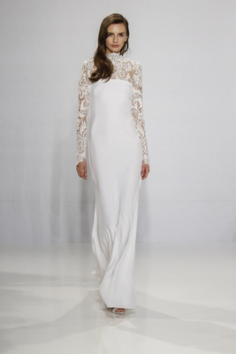 Christian Siriano for Kleinfeld Bridal long sleeve lace wedding dress with high neck and column gown