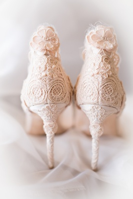 light blush heels floral patterns stilettos christian dior wedding shoes bride california