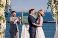 groom holds bride during ocean view ceremony montauk new york coastal east coast wedding jewish