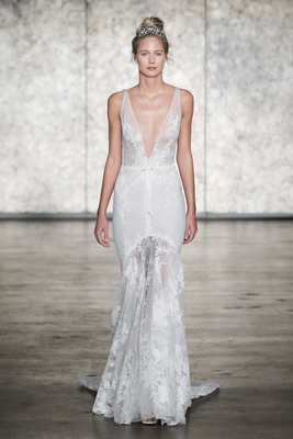 Inbal Dror Fall 2018 V-neck mermaid of crochet & Chantilly lace