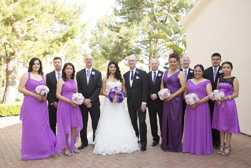 765096eeca Purple Wedding Party Attire. 0 Favorites; 0 Repins. Couple with bridesmaids  and groomsmen outside