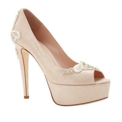 1f6bca319cd Emmy London Grace platform peep-toe pump wedding shoe in tan with white  beads.