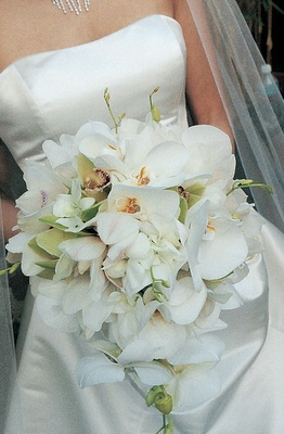 Brides bouquet of white and green orchids