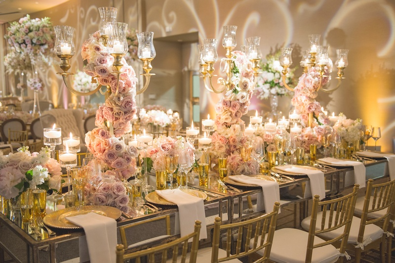 Wedding Reception With Mirrored Table, Gold Chairs, Lilac, Pink Roses On  Gilt Candelabra
