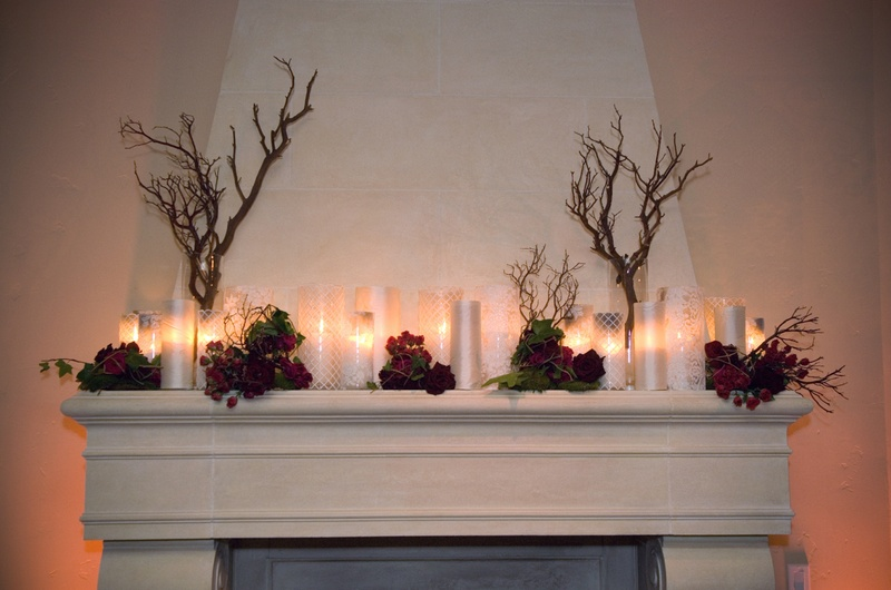 Rustic inspired fireplace mantle with candles