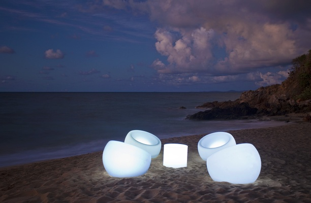 Modern seating at beach event at W Retreat & Spa, Vieques Island.
