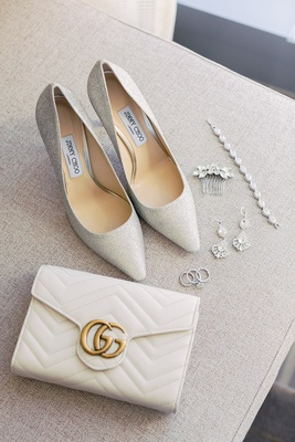 Jimmy Choo pumps shoes wedding heels with ivory gold gucci clutch wedding bracelet headpiece earring