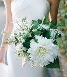 simple bouquet ivory flowers greenery spring oceanside california wedding bride