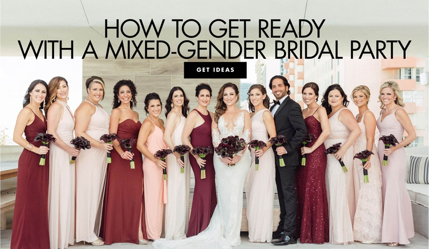 bride with bridesmaids in crimson and blush dresses, bridesman in tux carrying bouquet