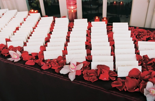 Seating cards on bed of flower petals