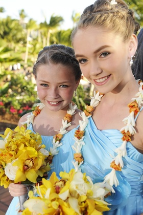 Bridesmaids wear light blue dresses and yellow bouquets