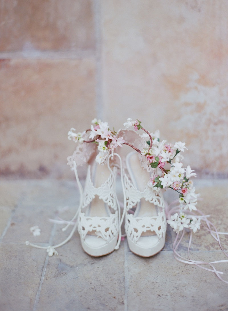 """""""Belinda"""" bridal wedding shoe by Charlotte Olympia with pink flower crown for Brette Wolff"""