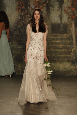 """bias cut """"mariana"""" dress with beading in floral pattern by jenny packham"""