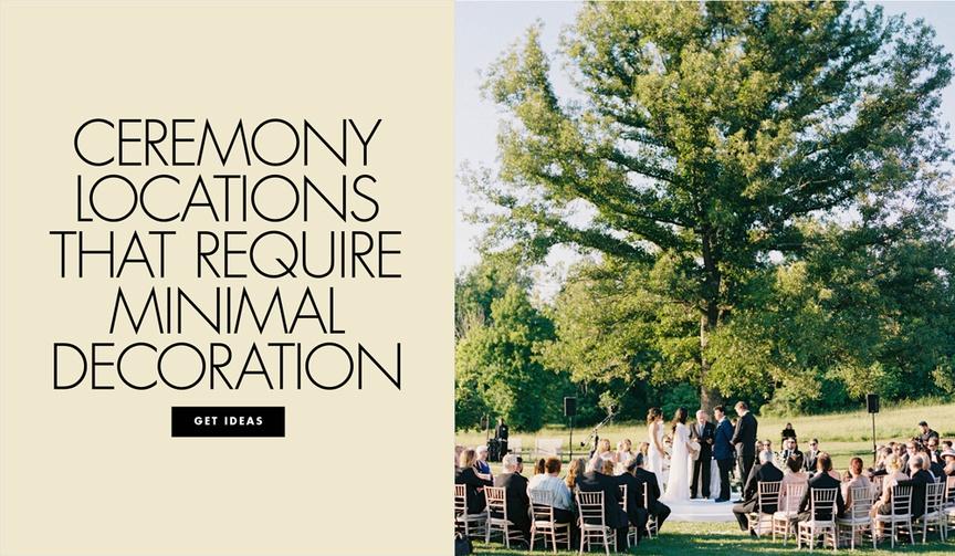 Ceremony locations that require minimal decoration ceremony types