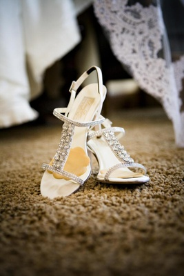 Strappy rhinestone wedding shoes with foot petals