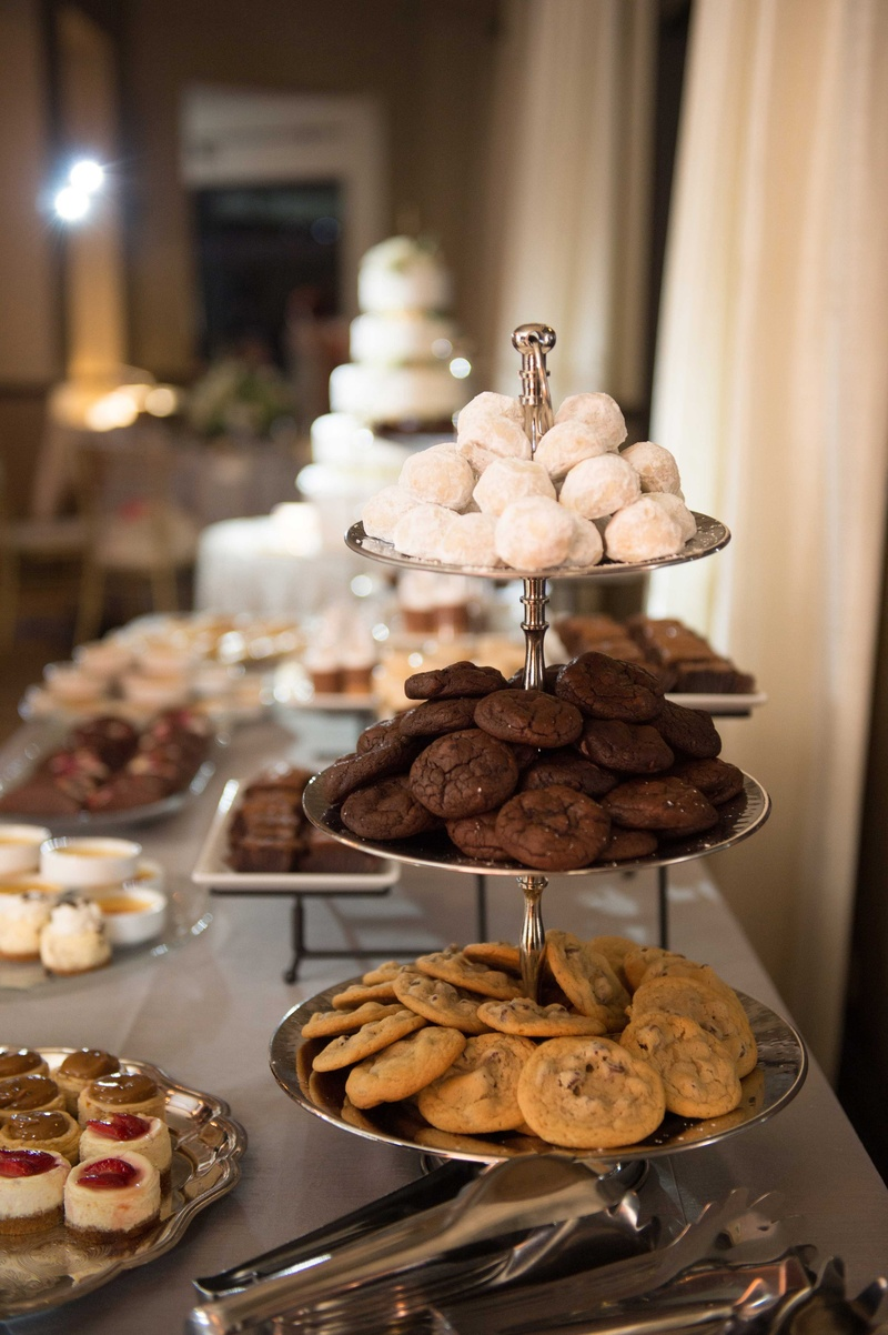 dessert bar, sweets table, chocolate chip cookies, double chocolate, powdered sugar cookies