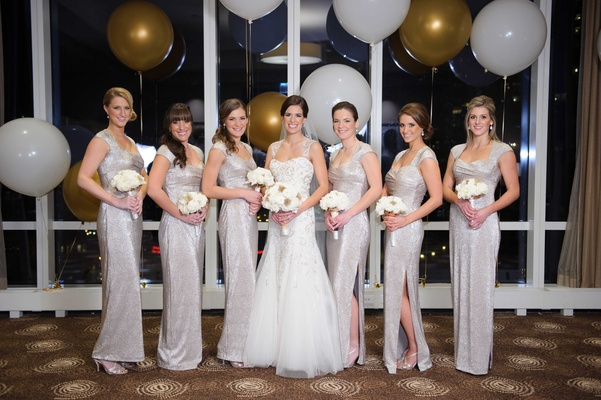New year39s eve wedding with glittering metallic details in bride in monique lhuillier bridesmaids in silver ralph lauren gowns new years eve wedding junglespirit Gallery
