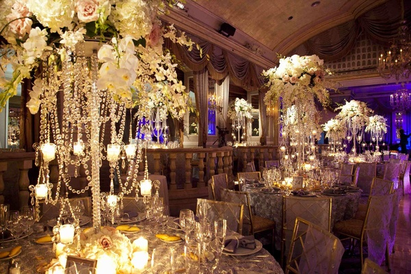 The Pierre wedding reception with gold and ivory color palette