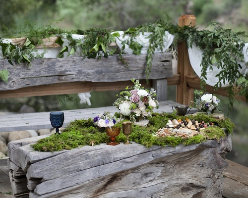 Rustic outdoor wedding with a tree trunk table topped with moss and hors d'oeuvres