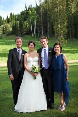 Family portrait wedding ceremony outside in Utah