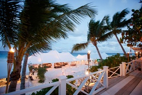 Tent wedding reception in the Bahamas on the sand in Harbour Island
