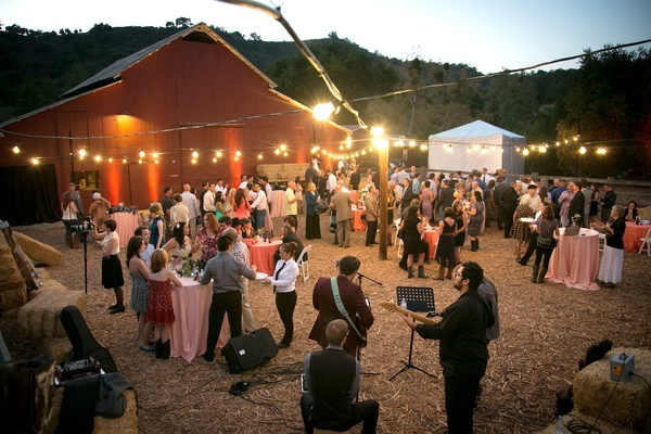 Wedding guests in Ojai barnyard at rustic wedding