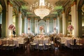 Biltmore Ballrooms wedding reception with gold chandelier