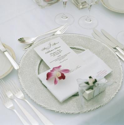 Plates and setting at wedding of Alfredrick Joyner
