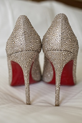 Crystal Christian Louboutin bridal shoes with red soles