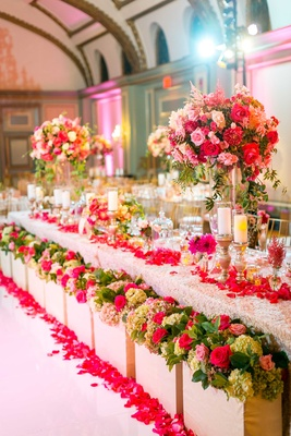 dramatic head table high and low centerpieces hydrangea, rose, greenery, textured linen
