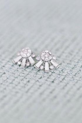 Art Deco inspired diamond earrings bride wore for her wedding
