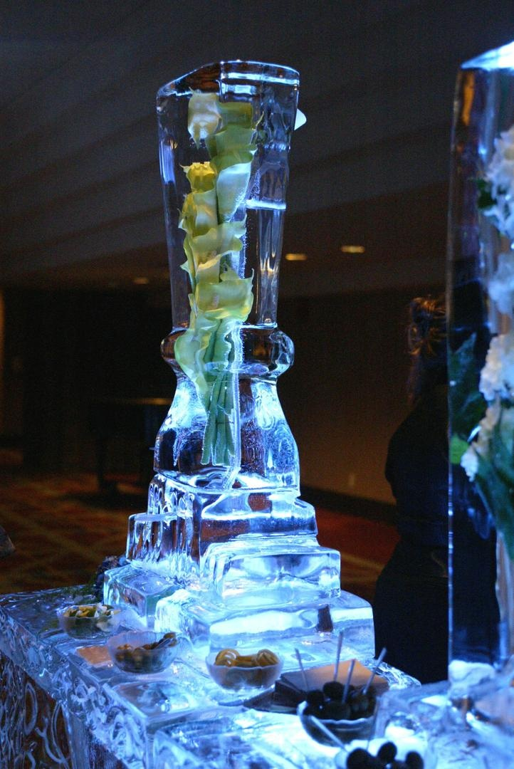Calla lilies submerged in ice sculpture