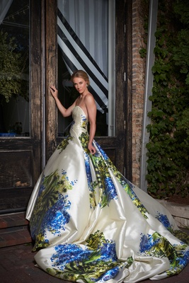 Floral wedding gown, blue-and-green wedding gown Romona Keveza flower print wedding dress