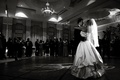 Black and white photo of first dance in ballroom
